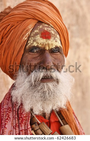 India, Rajasthan, Jaipur, the Amber Fort, an indian sadhu