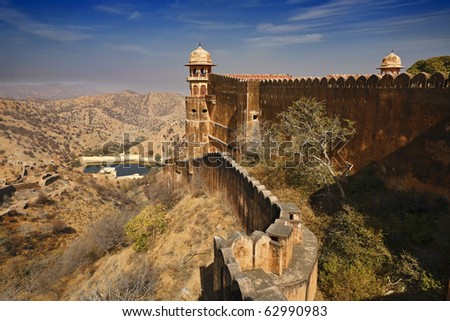 India, Rajasthan, Jaipur, the Amber Fort, the external walls of the Amber Fort