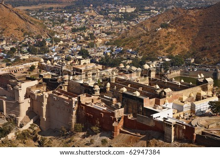 India, Rajasthan, Jaipur, the Amber Fort, view of the Amber Palace from the Amber Fort