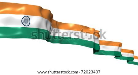 India ribbon flag isolated on white