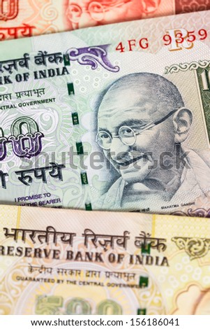 India rupee money banknote close-up - stock photo