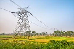 India Rural Electrification - High Tension Line through paddy field
