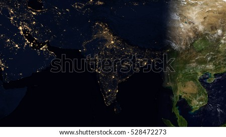 India Satellite Space View Planet Earth Map Composition Elements
