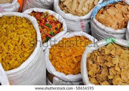 India Street Vendor Food for Sale including Pasta