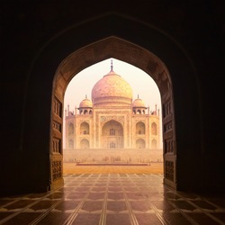 India. Taj Mahal indian palace. Islam architecture. Door to the mosque