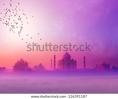 India. Taj Mahal sunset silhouette. Tajmahal palace in sunset sky