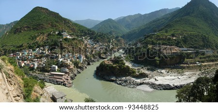 India, the city of Deoprojag, place where from merge of two rivers Bagirathi and Alaknanda is formed the river Ganga