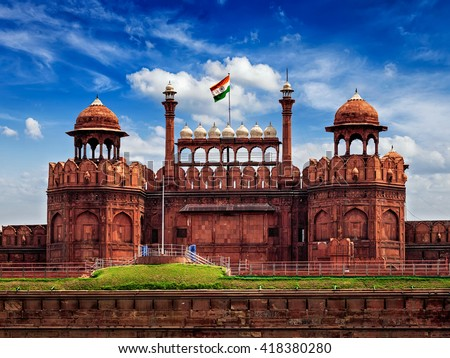 India travel tourism background - Red Fort (Lal Qila) Delhi - World Heritage Site. Delhi, India