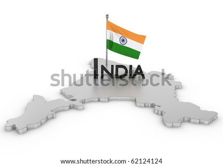 India Tribute/Digitally rendered scene with flag and typography