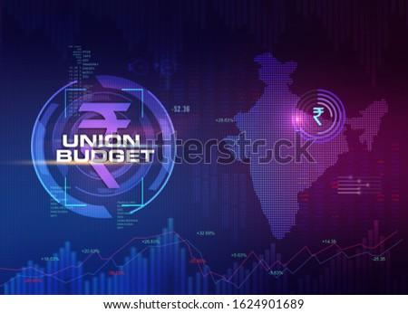 India Union Budget, India Economic background, India Finance background, abstract dark background illustration with India map, Rupee symbol