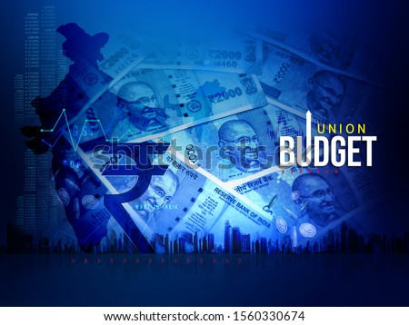 India Union Budget, India economy, finance background, Indian rupee blue abstract  background, illustration, rupee currency, rupee background