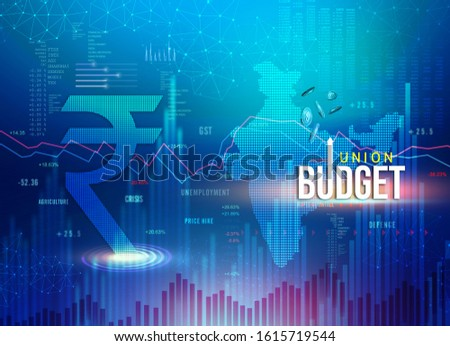 India Union Budget, Indian economy, finance background, Indian rupee blue abstract background with Indian map and rupee symbol, illustration, rupee currency, rupee background