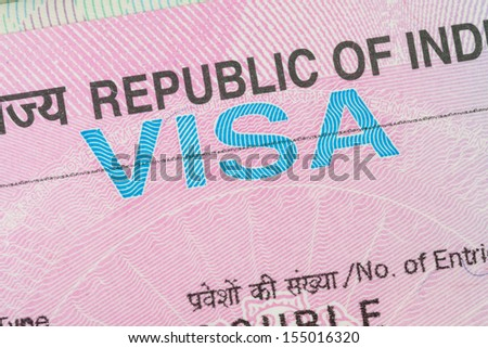India visa in a passport macro