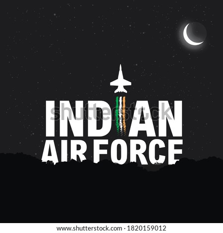 Indian Air Force Day, Concept Banner and Typography theme name. Indian Air Force primary mission is to secure Indian airspace and to conduct aerial warfare during armed conflict.