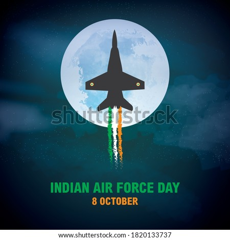 Indian Air Force Day, Concept Banner and Typography theme name. Indian Air Force's primary mission is to secure Indian airspace and to conduct aerial warfare during armed conflict,
