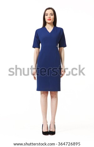 f9ffa93bd indian asian eastern brunette business executive woman with straight hair  style in blue short sleeve dress