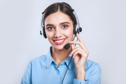 Indian beautiful businesswoman working in call center