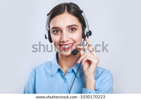 Indian beautiful businesswoman working in call center #1030170223