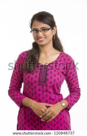 Indian Beautiful girl wearied Indian traditional churidar on white background.