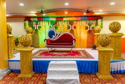 Indian beautiful marriage decoration with flowers
