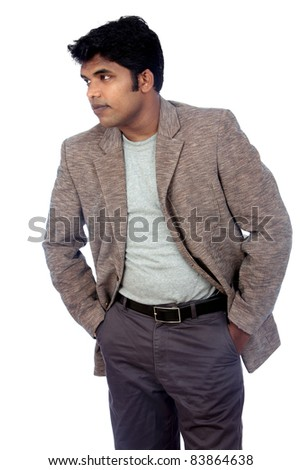 Indian business man on white background.