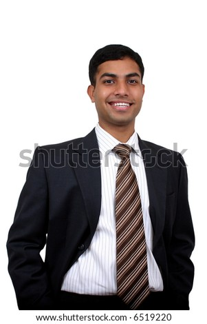 Indian business man smiling with. Clipping path available.