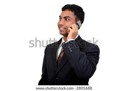 Indian Business man using cellphone (2) with clipping path