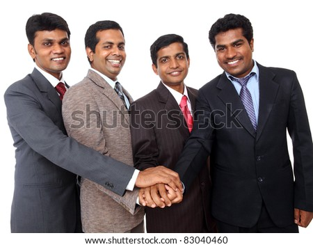 Indian business people showing them team cooperation.