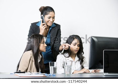 Indian business team working together on a project