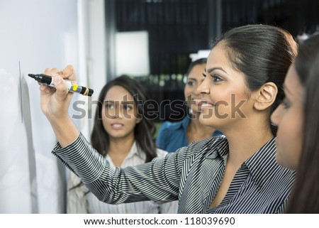 Indian business woman writing on a whiteboard with her team around her.