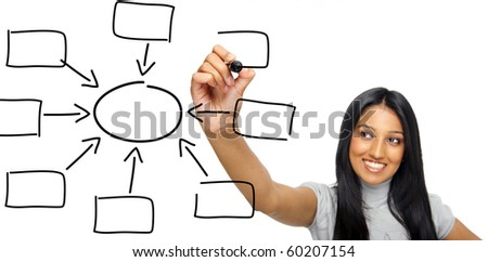 Indian businesswoman draws diagram with marker - stock photo
