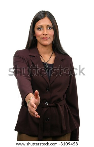 Indian businesswoman extending hand to handshake isolated over a white background.