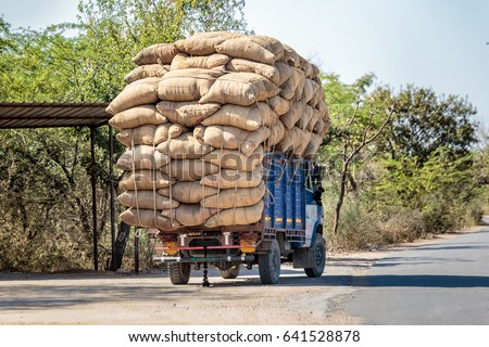 Indian cargo truck overloaded near udaipur, India.