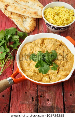 Indian Chicken Curry with Rice and Naan Breads