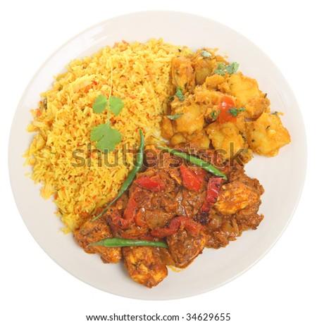 Indian chicken jalfrezi with Bombay aloo and lemon rice