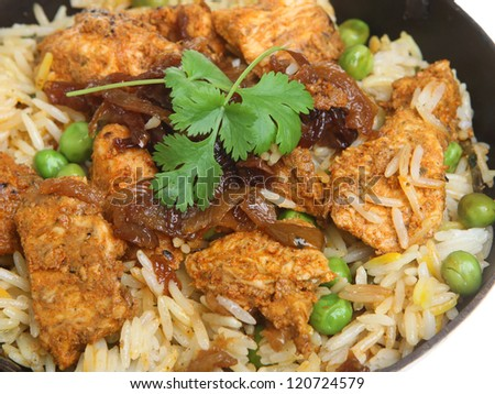 Indian chicken tikka biryani curry in balti dish