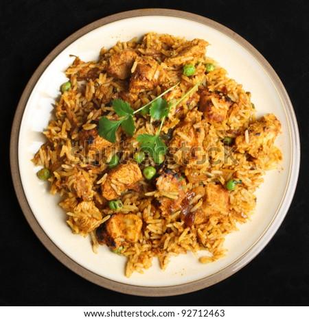 Indian chicken tikka briyani meal