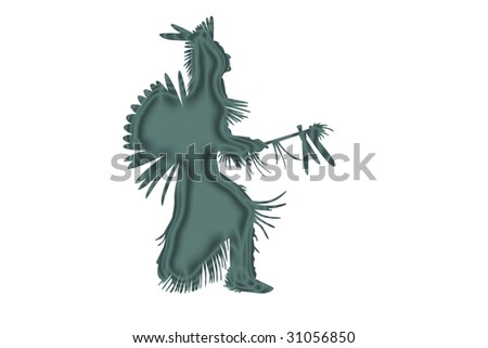 indian chief Illustration on a white