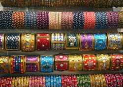 Indian colored glass and metal bangles