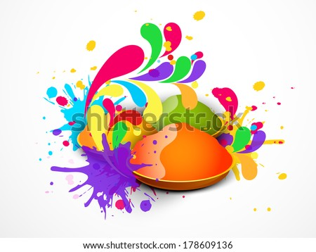 Indian colour festival Happy Holi celebrations concept with shiny orange colour on colourful floral decorated background.