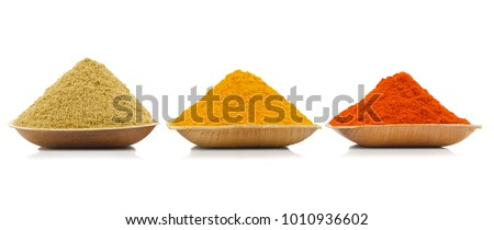 Indian Colourful Spices Also Know as Red Chilli Powder, Turmeric Powder, Coriander Powder, Mirchi, Mirch, Haldi, Dhaniya Powder Isolated on White Background