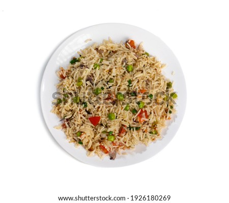 Indian Cuisine Basmati Rice Pilaf, Pulao With Peas or Matar Rice and Vegetables Foto stock ©