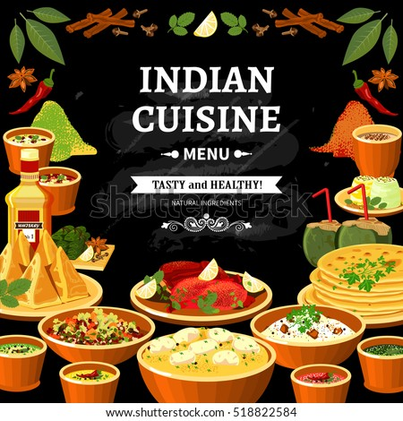 Indian cuisine restaurant menu black board poster with colorful traditional spicy flavored dishes abstract  illustration