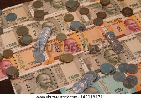 Indian Currency coins and Indian 500 note 200 note 2000 note #1450181711