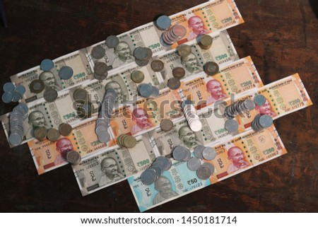 Indian Currency coins and Indian 500 note 200 note 2000 note #1450181714