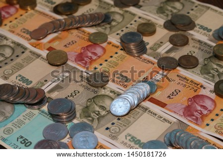 Indian Currency coins and Indian 500 note 200 note 2000 note #1450181726