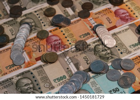 Indian Currency coins and Indian 500 note 200 note 2000 note #1450181729