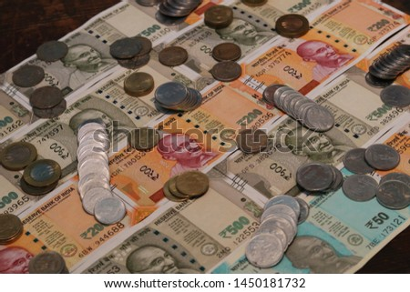 Indian Currency coins and Indian 500 note 200 note 2000 note #1450181732