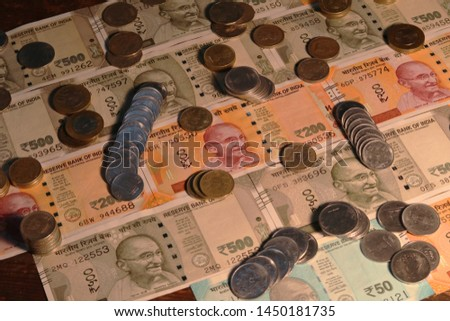 Indian Currency coins and Indian 500 note 200 note 2000 note #1450181735