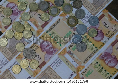 Indian Currency coins and Indian 500 note 200 note 2000 note #1450181768